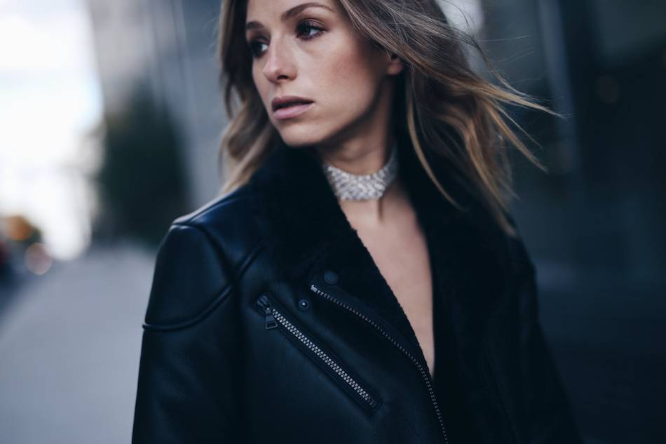 black-shearling-coat-silver-choker-necklace