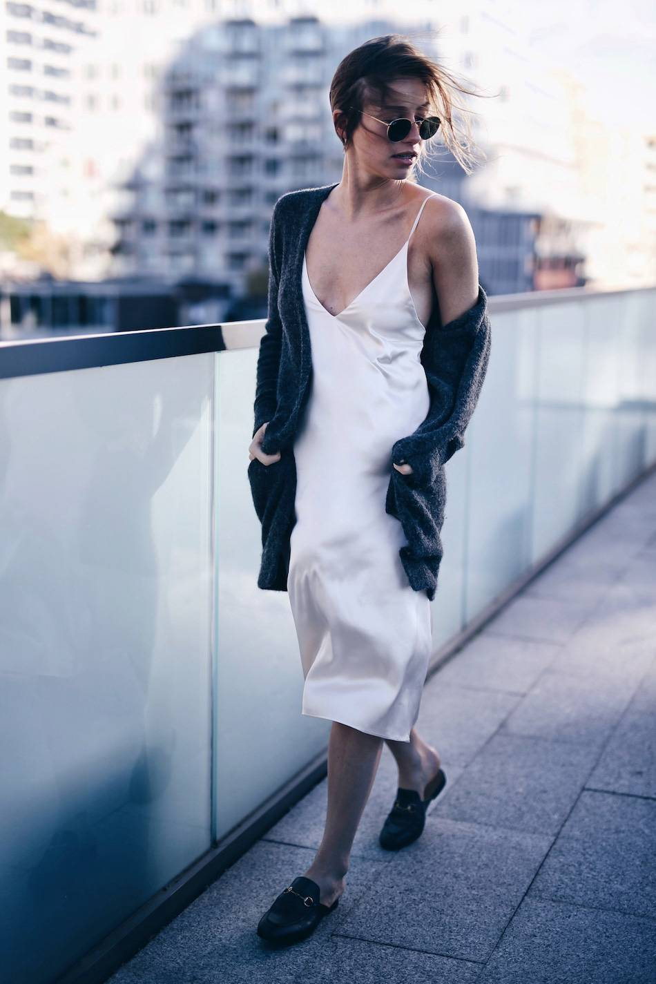 what to wear with a silk slip dress