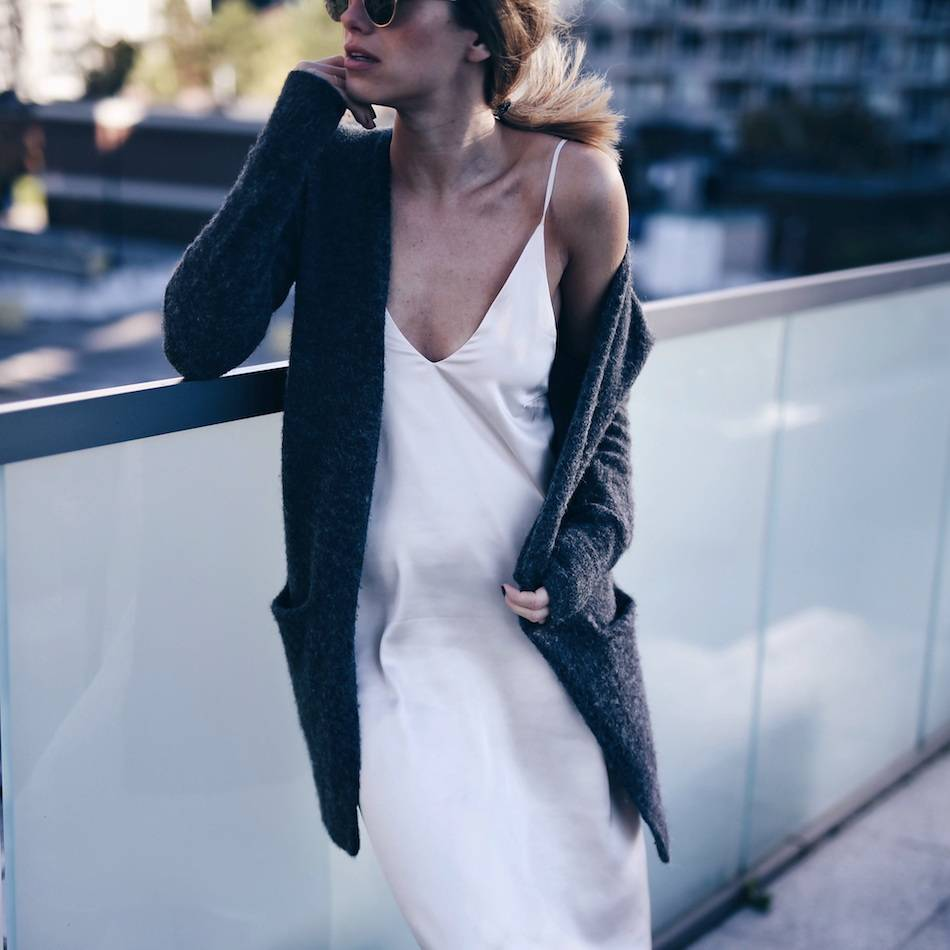 silk-slip-dress-and-grey-cardigan