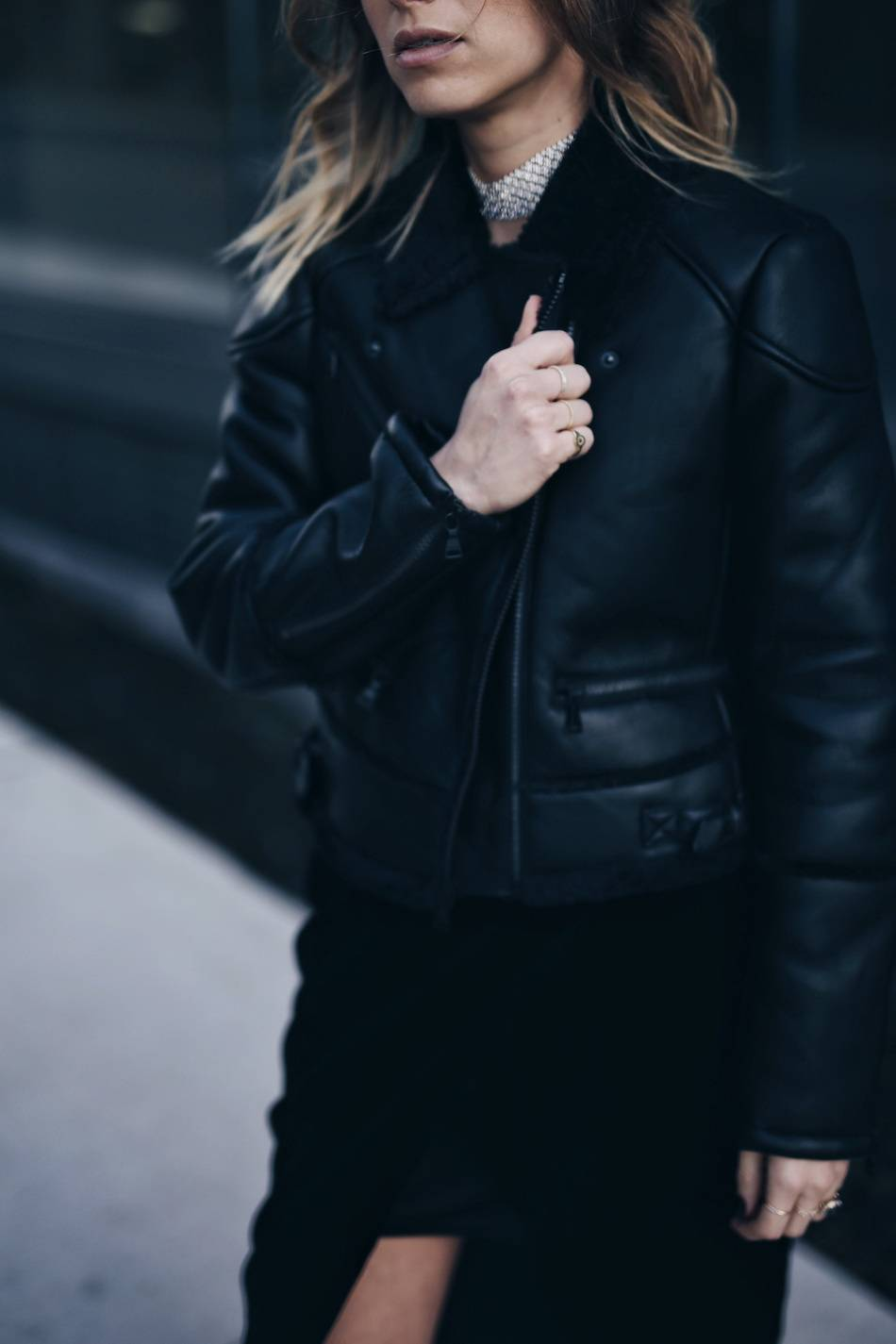 what-to-wear-to-a-holiday-party-velvet-dress-shearling-moto-jacket