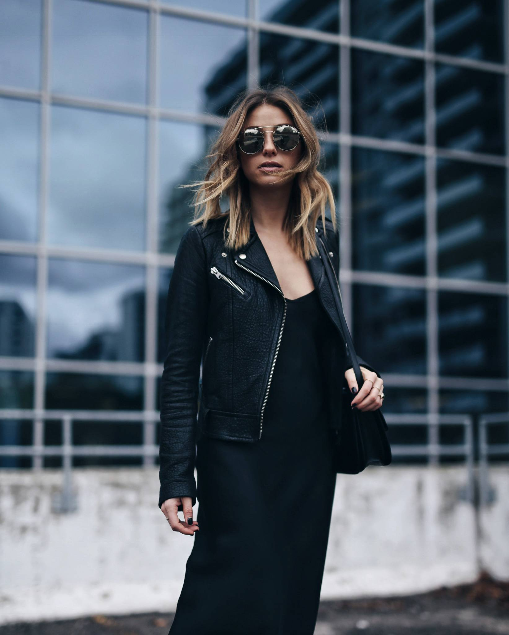 style-and-beauty-blogger-jill-lansky-of-the-august-diaries-in-a-mackage-rumer-leather-jacket-and-organic-by-john-patrick-slip-dress