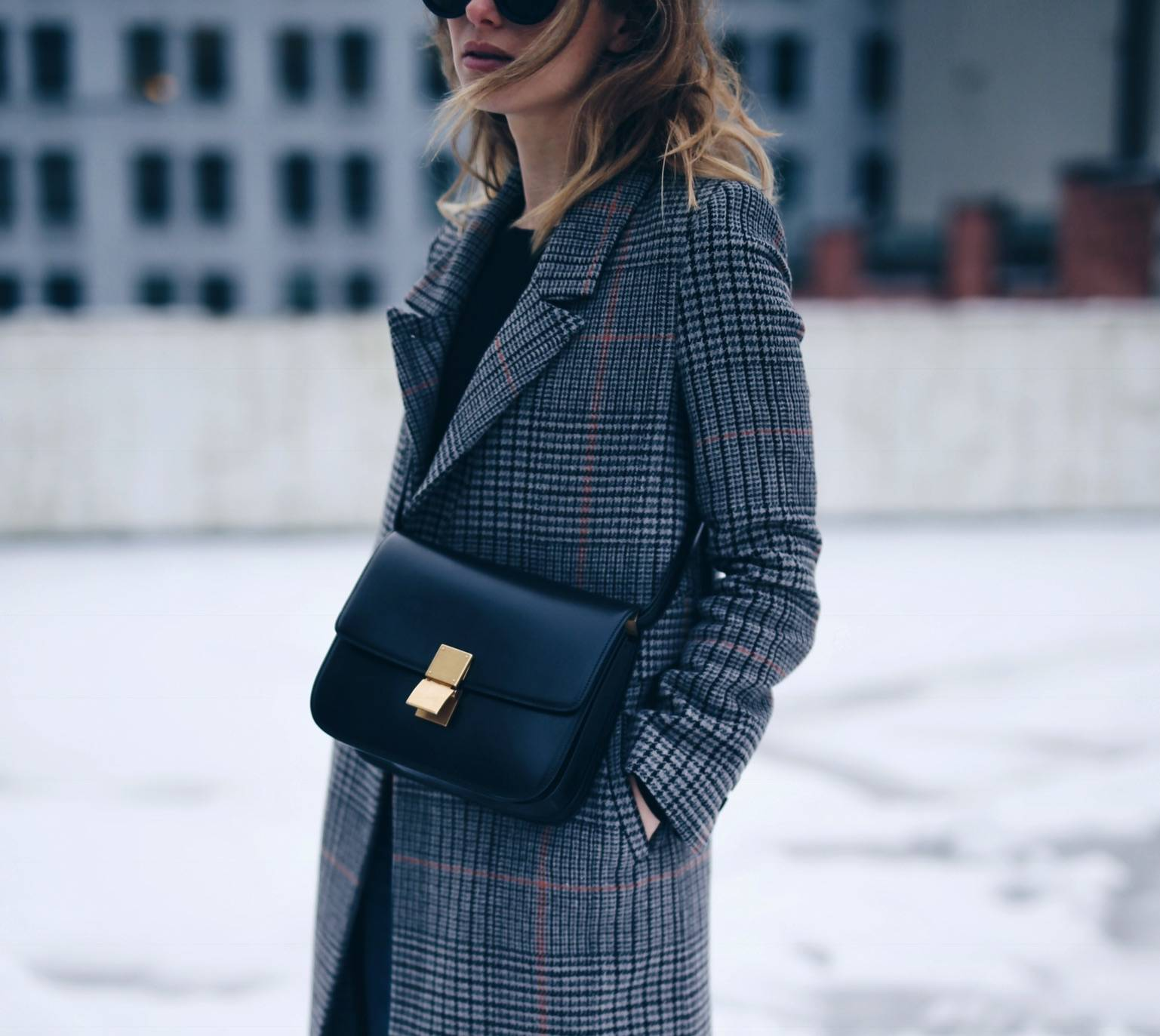 fi-Style and beauty blogger Jill Lansky of The August Diaries shows winter chic style in H&M plaid coat with Celine black box bag copy