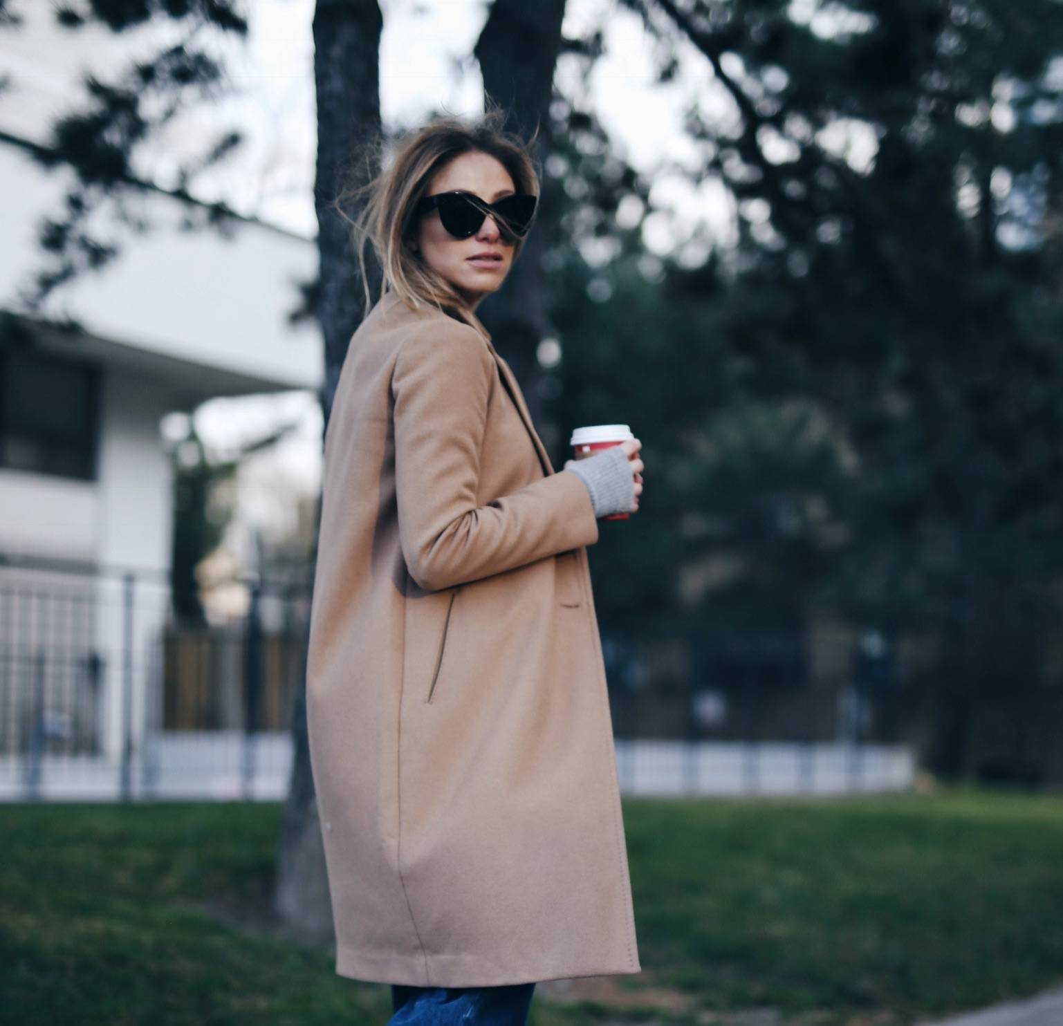 CAMEL COAT + GUCCI LOAFERS