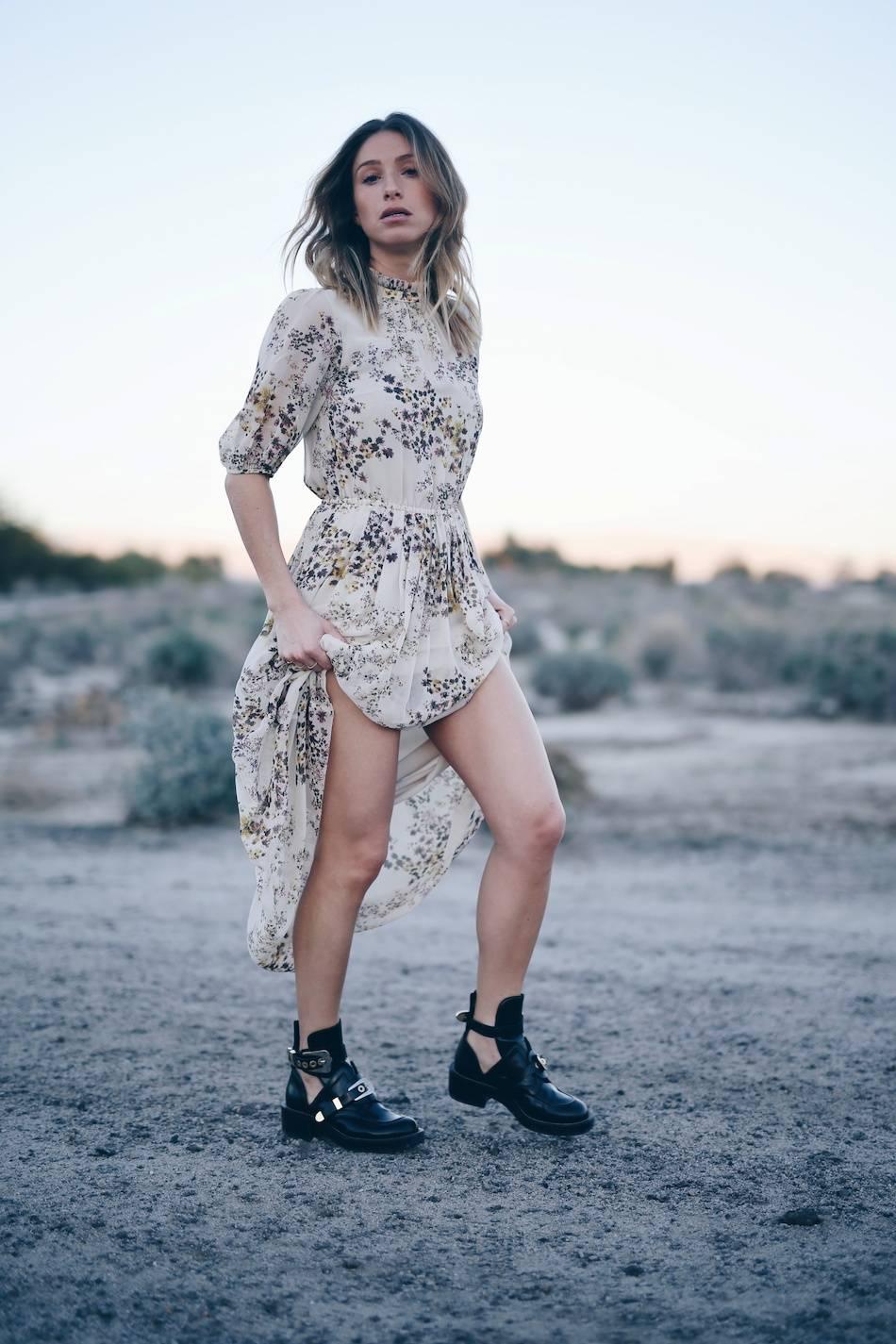 Style and beauty blogger Jill Lansky of The August Diaries in Aritzia silk boho dress, Balenciaga ceinture boots, california desert editorial