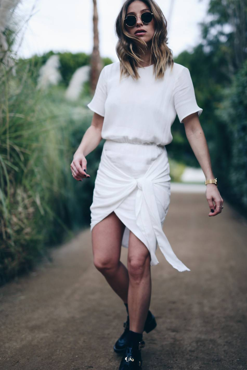 Style-and-beauty-blogger-Jill-Lansky-of-The-August-Diaries-in-white-wrap-Stylestalker-dress-Balenciaga-boots-Dagne-Dover-bag-Cluse-gold-watch-at-the-Parker-Palm-Springs