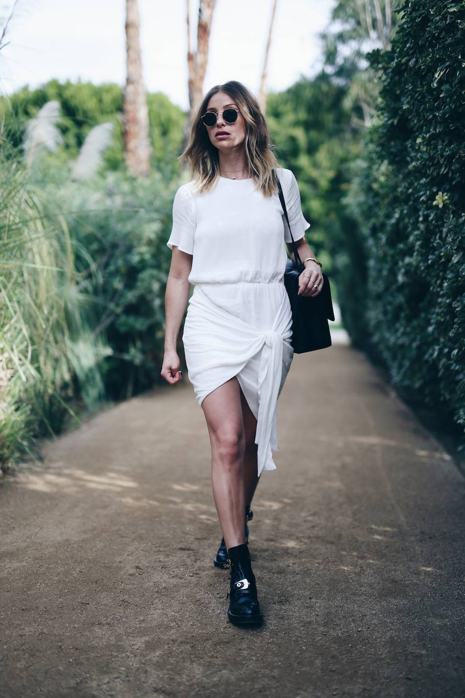 Style-and-beauty-blogger-Jill-Lansky-of-The-August-Diaries-in-white-wrap-Stylestalker-dress-Balenciaga-boots-Dagne-Dover-bag-at-the-Parker-Palm-Springs