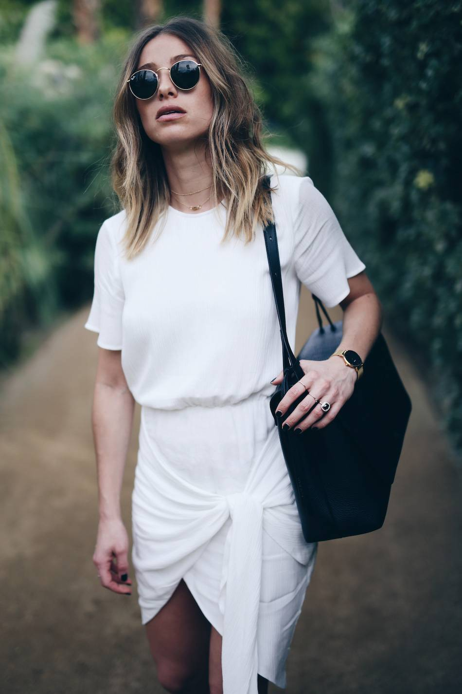 Style-and-beauty-blogger-Jill-Lansky-of-The-August-Diaries-on-self-love-in-white-wrap-Stylestalker-dress-Ray-Ban-round-sunglasses