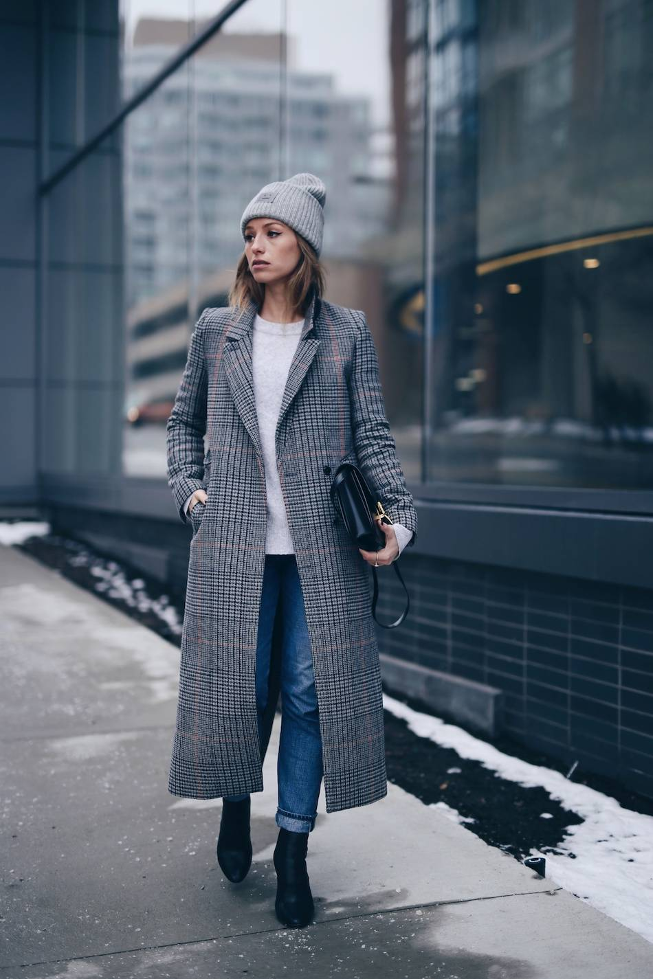 Style and beauty blogger Jill Lansky of The August Diaries warm and stylish outfit in Acne Pansy toque, plaid maxi coat, Celine black box bag, 3.1 Phillip Lim boots