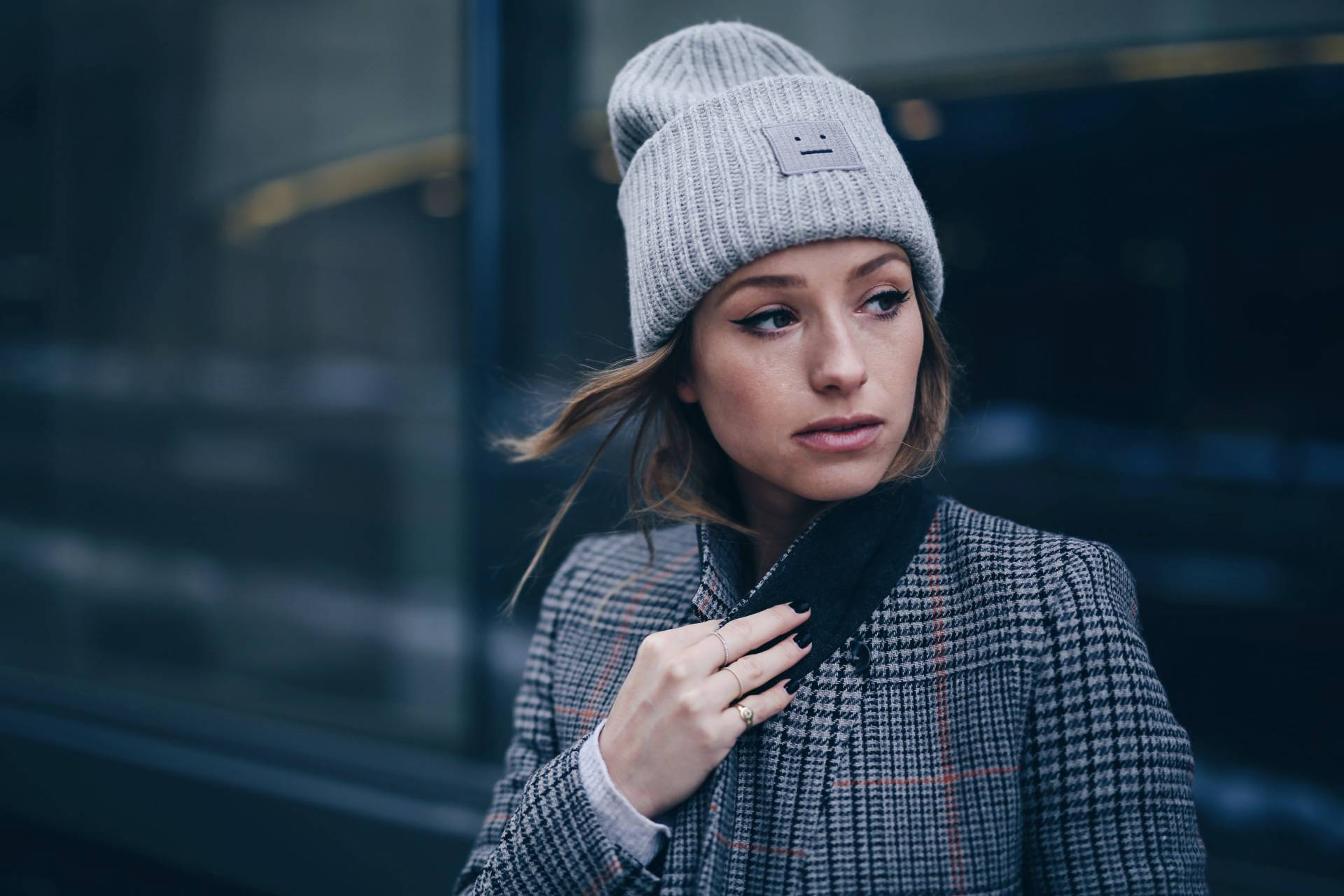 fi-Style and beauty blogger Jill Lansky of The August Diaries on how to stay warm + stylish in the winter in Acne Pansy toque, plaid maxi coat, Celine black box bag, 3.1 Phillip Lim boots