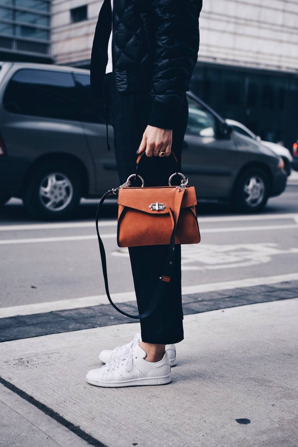 Style and beauty blogger Jill Lansky of The August Diaries in athletic trend Adidas stan smith, Proenza Schouler Hava bag