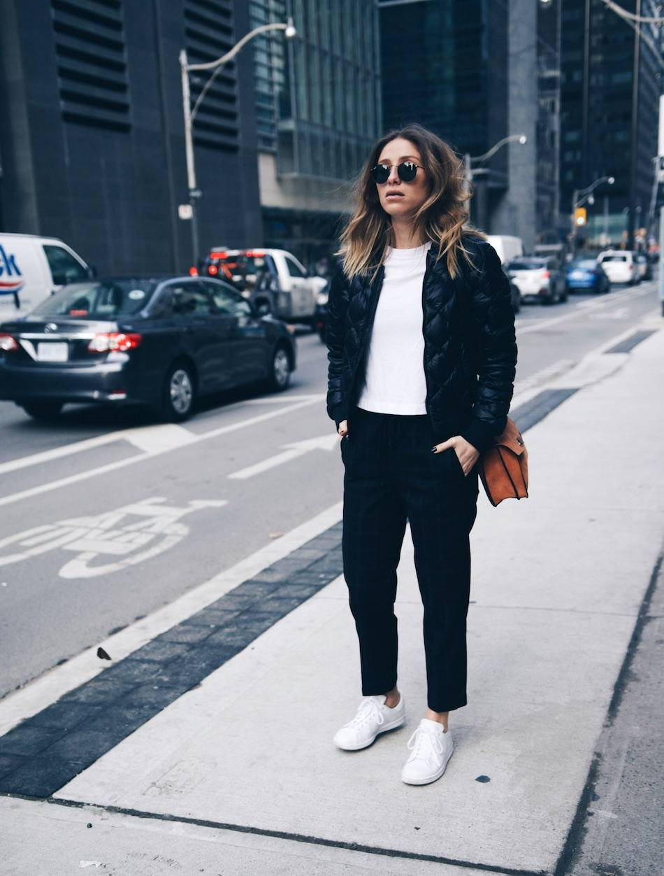Style and beauty blogger Jill Lansky of The August Diaries in athletic trend Adidas stan smith, bomber jacket, white tee, Proenza Schouler Hava bag