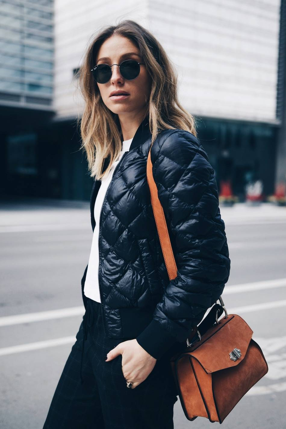 Style and beauty blogger Jill Lansky of The August Diaries on 5 ways to start your morning right in Adidas stan smith, bomber jacket, white tee, Proenza Schouler Hava bag