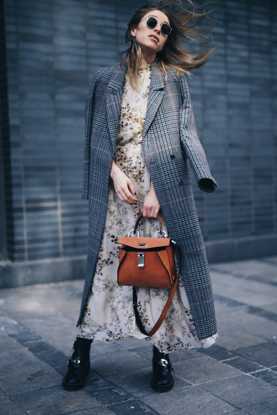 how to layer stylishly plaid maxi coat, floral dress, Balenciaga boots, Proenza Schouler hava bag