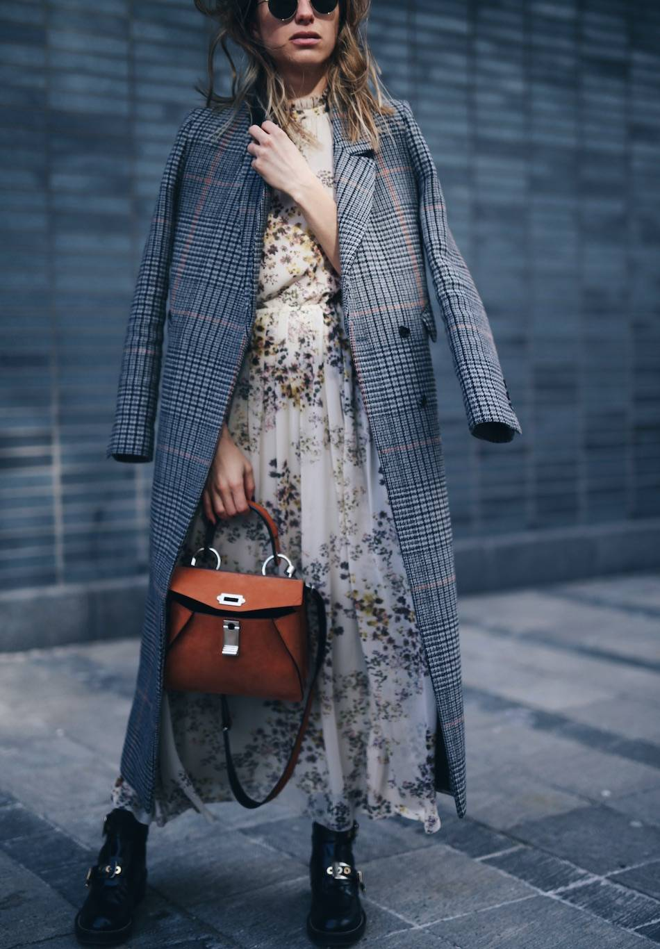 how to layer stylishly in plaid maxi coat, floral dress, Balenciaga boots, Proenza Schouler hava bag