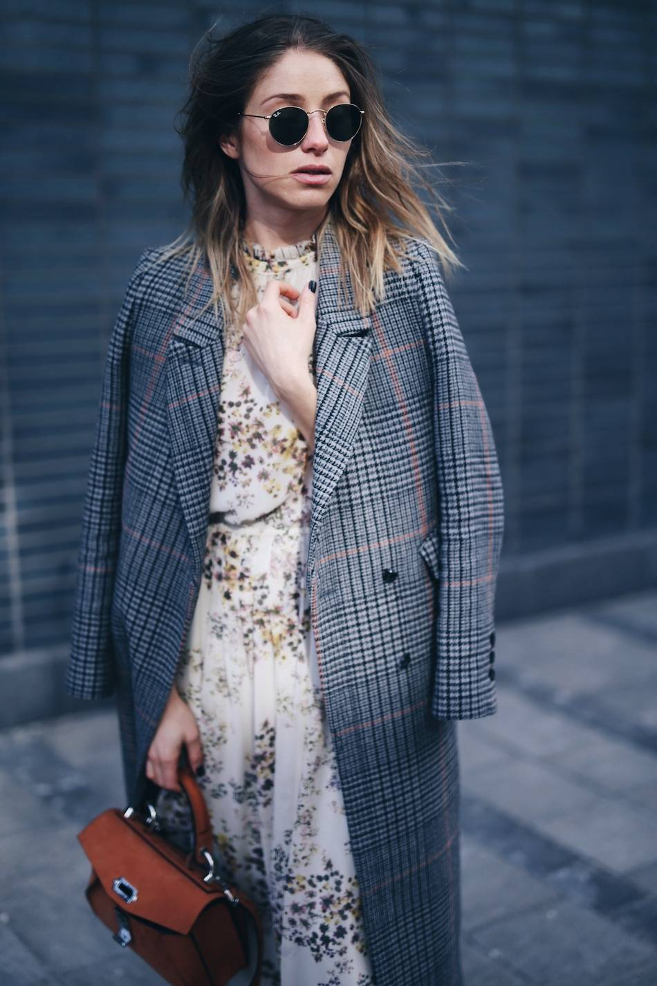 how to layer stylishly in plaid maxi coat, floral dress, Proenza Schouler hava bag