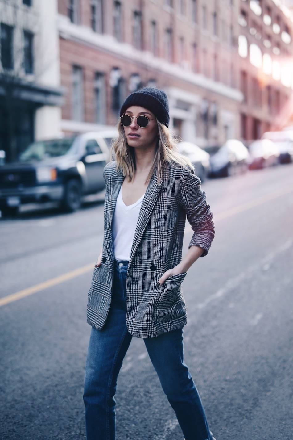 Style and beauty blogger Jill Lansky of The August Diaries on how to take care of luxury bags and shoes in acne studios beanie, boyfriend blazer