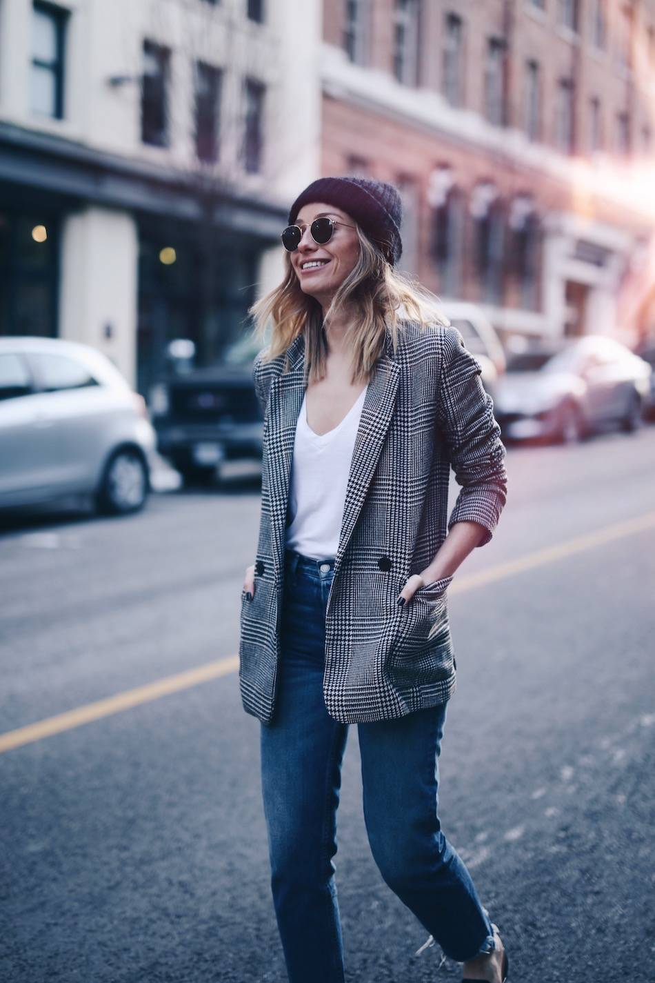 Style and beauty blogger Jill Lansky of The August Diaries on how to take care of luxury bags and shoes in acne studios beanie, photo sun flare