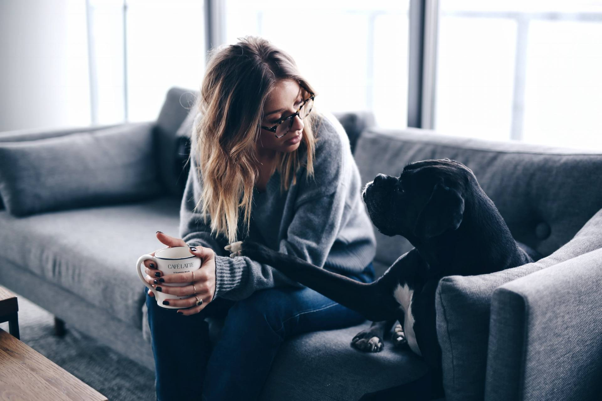 Style and beauty blogger Jill Lansky of The August Diaries shares her simple and minimalist apartment, grey couch, bonlook glasses, black boxer