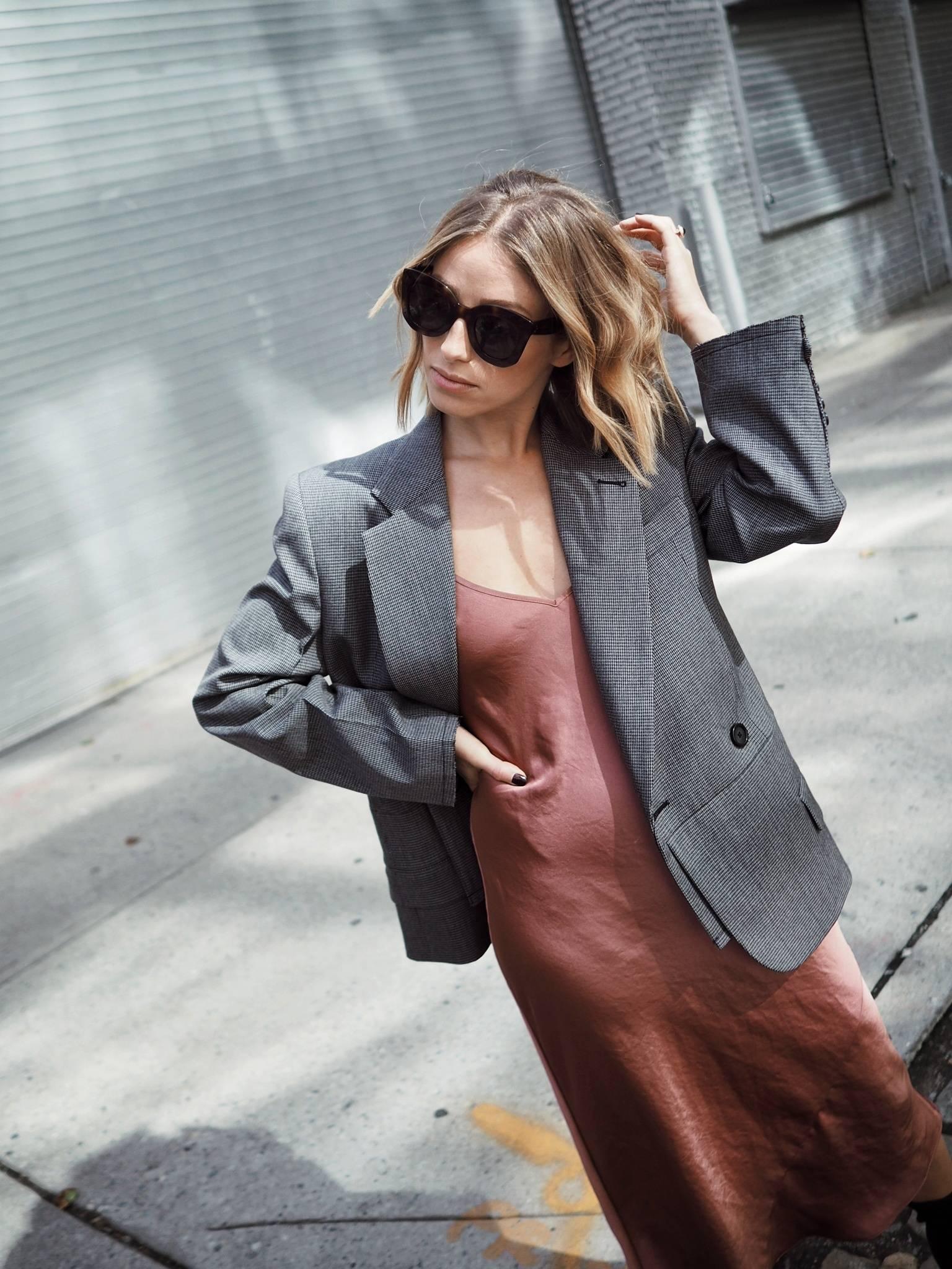 Style and beauty blogger Jill Lansky of the August Diaries in Helmut Lang blazer, slip dress, Celine Marta sunglasses