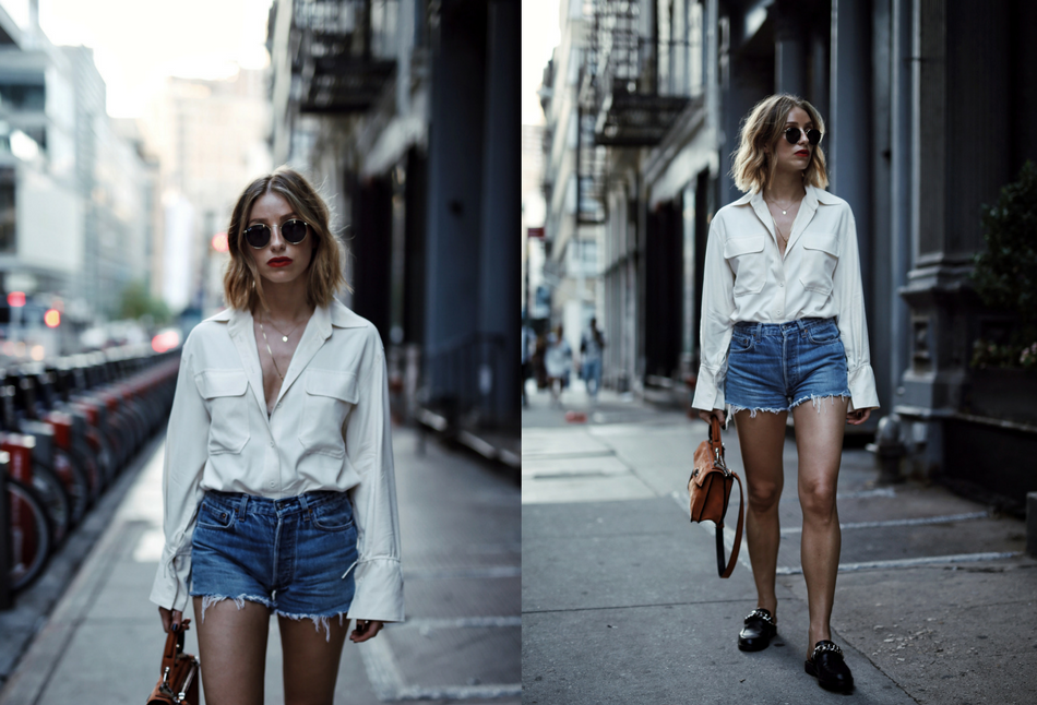 Style and beauty blogger Jill Lansky of the August Diaries on how to dress outside your comfort zone in Aritzia blouse, levi's shorts, proenza schouler hava bag, givenchy chain slides