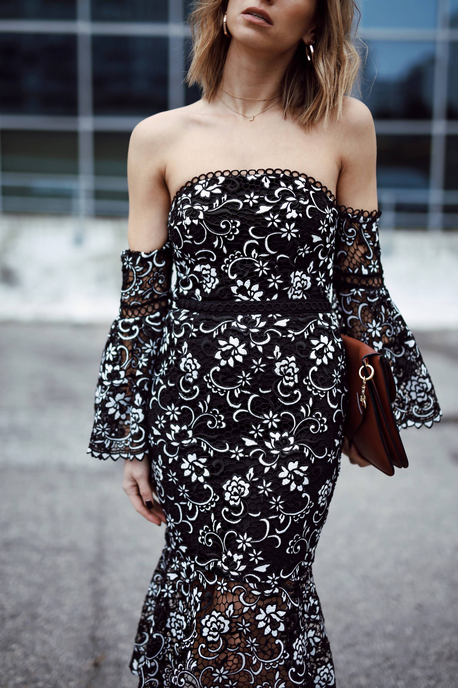Style and beauty blogger Jill Lansky of the August Diaries on 5 ways to toughen up a dress in off the shoulder dress, hoop earrings, are you am i choker necklace, jw anderson pierce bag