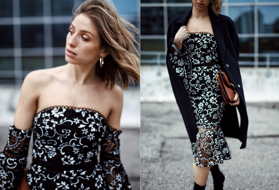 Style and beauty blogger Jill Lansky of the August Diaries on 5 ways to toughen up a dress in off the shoulder dress, black clinger boots